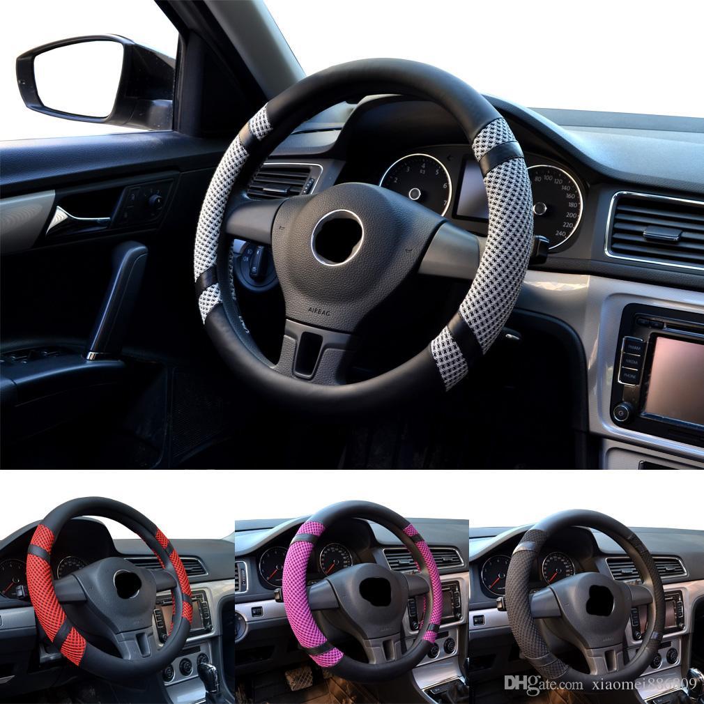 Summer ice silk high-grade leather steering wheel sheath color random 15 inches