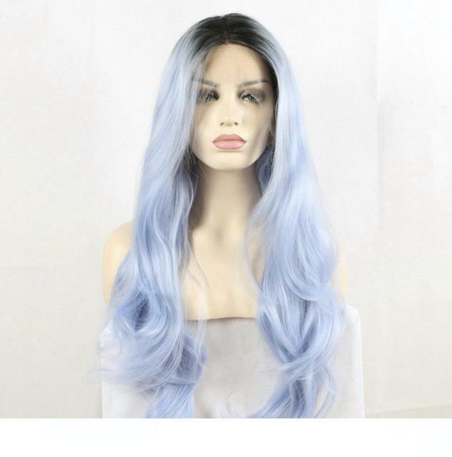 H Ombre sintético pelucas de encaje oscuro Raíz Ombre en colores pastel azul a prueba de calor del pelo de fibra larga naturaleza de onda de luz azul lacefront Wigss