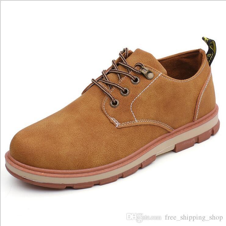 calzados informales de los hombres calientes de color caqui azul negro de negocios que trabajan zapatos marrones cómodo tamaño pisos al aire libre hombres del deporte de los zapatos 40-45