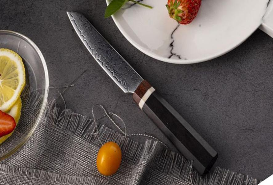 High Quality 2020 New Damascus Steel Fxied Blade Kitchen Knife Rosewood Handle Outdoor Small Fruit Knives Gift Knife With Kydex