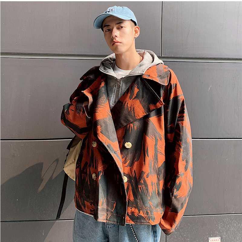 Erkek Ceketler Erkekler Blazer Casual Suit Ceket Adam Moda Baskılı Erkek Gençlik Streetwear Yaka Kamuflaj Ceket Erkek Bahar