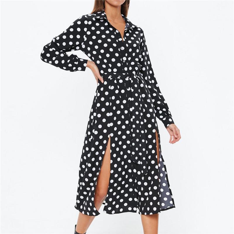 Mulheres Polka Dot Vestido de Manga Longa Garfo Cintura Alta Do Vintage Maxi Vestido Com Decote Em V Dividir Assimétrico Elegante Partido Moda Vestido de Verão