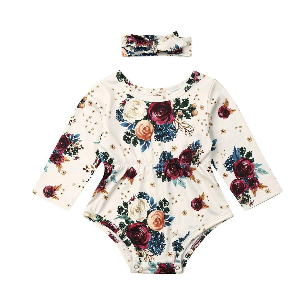 Newborn Infant Baby Girls Outfit Clothes Romper Jumpsuit Bodysuit Dress Headband