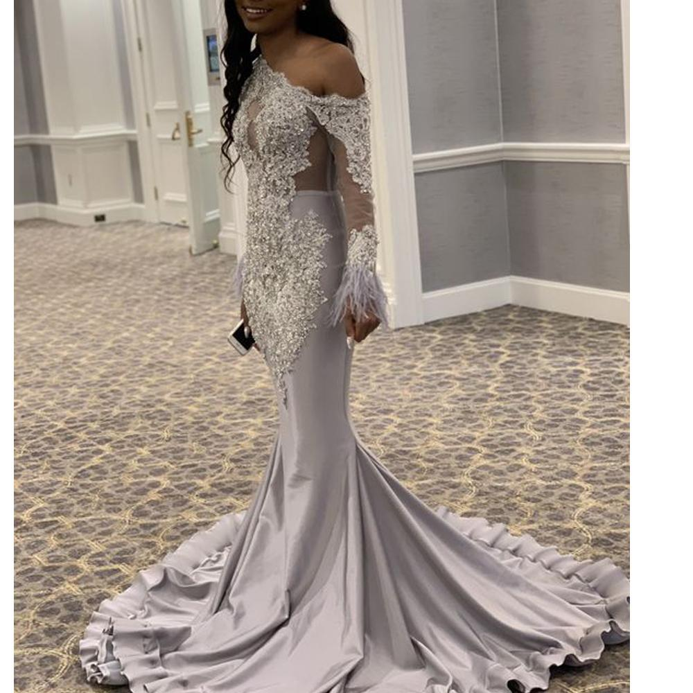 2K17 Silver Prom Dresses 2020 Long Sleeves One Shoulder Lace Applique Mermaid Formala Evening Gowns Beading Satin African Girls Pageant