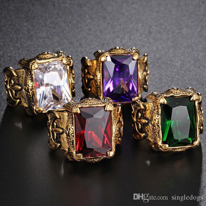 famoso marchio di stilista Ruby Men's Steel Casting coppia fedi nuziali anelli di moda Anelli a grappolo per regalo e festa Spedizione gratuita