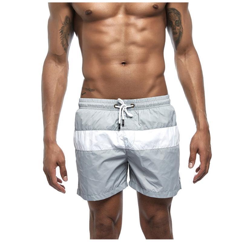 Yüksek Elastik Erkek Kurulu Şort Sörf Mayo Plajı Giyim Erkek Çizgili Swim Şort Yaz Atletik Running Spor Artı Siz # g2