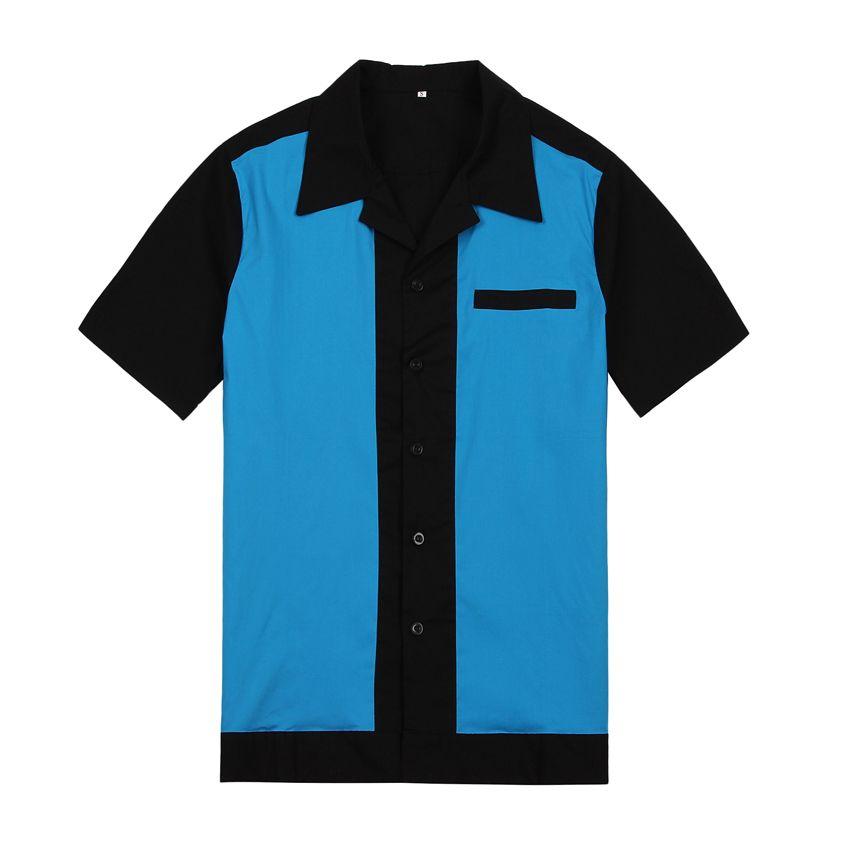2019 New Mens Purple Wear Panel Color Short Sleeve Button Up Cotton 50's 60's Vintage Casual Designer Shirts for Men