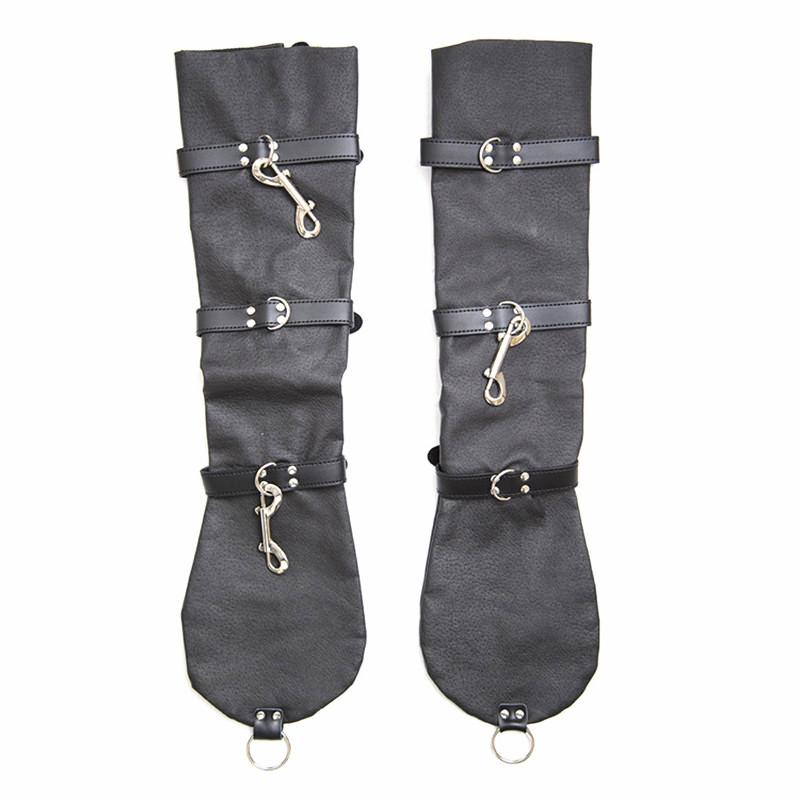 Arm Binder Sleeves Gloves BDSM Bondage Restraints Gear Fetish Fantasies Sexual Party Accessories for Lady Faux Leather Black GN302402188
