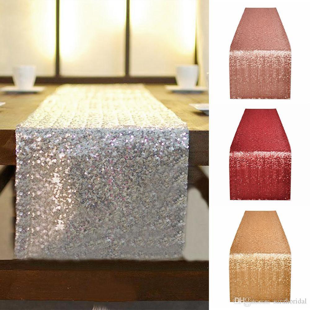 2020 Tischtuch Square Tischabdeckung lang für Hochzeits-Party-Dekoration Tische Pailletten Tischkleidung Hochzeit Tischdecke Home Textil