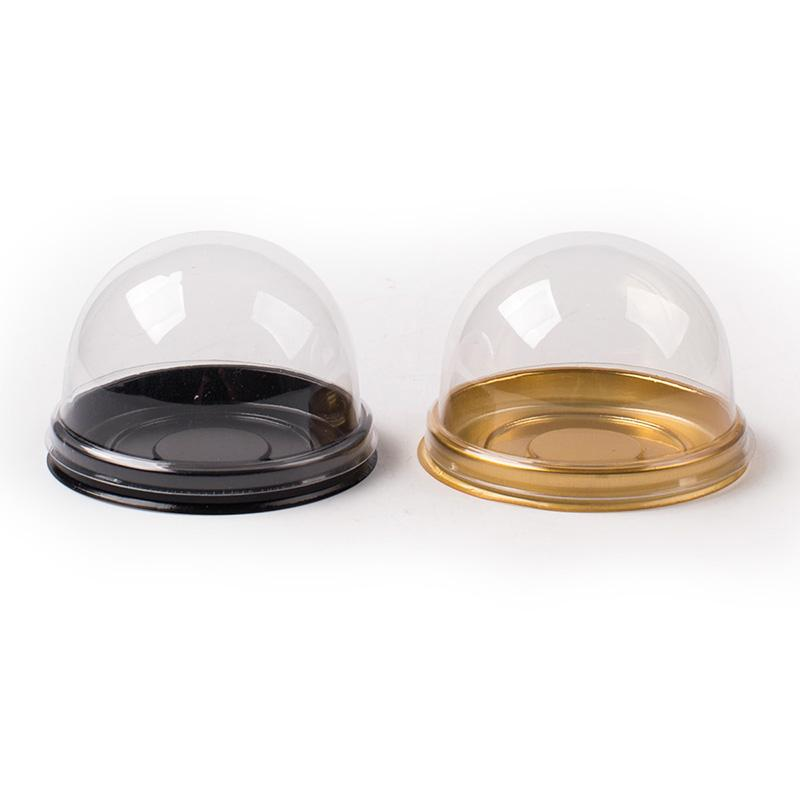 Gold Black Round Plastic Cake Box Single Individual Moon Cake Tray Boxes Plastic Mooncake Pvc Boxes Food Gift Packaging Boxes