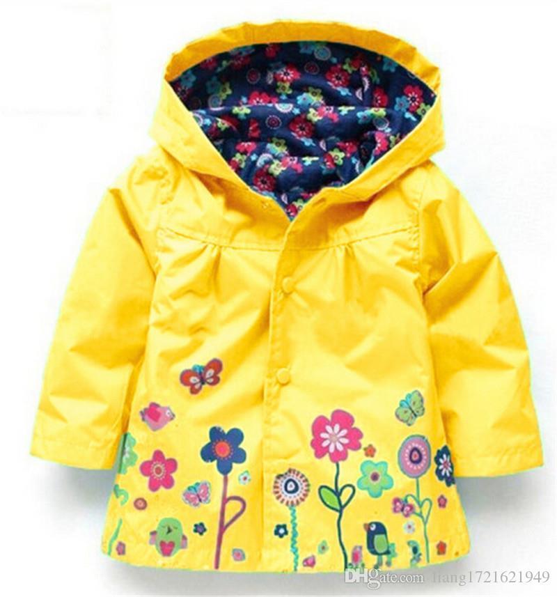 الفتيات لطيف الزهور سترة المطر يندبروف الفتيات سترة الأطفال المعطف