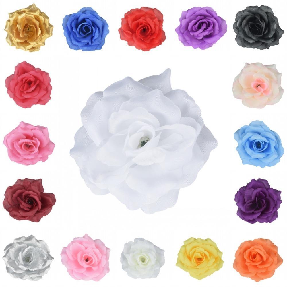 100pieces Heads soie artificielle Rose fleur de mariage pour baiser balle Party Decoration Favors 17colors T200103