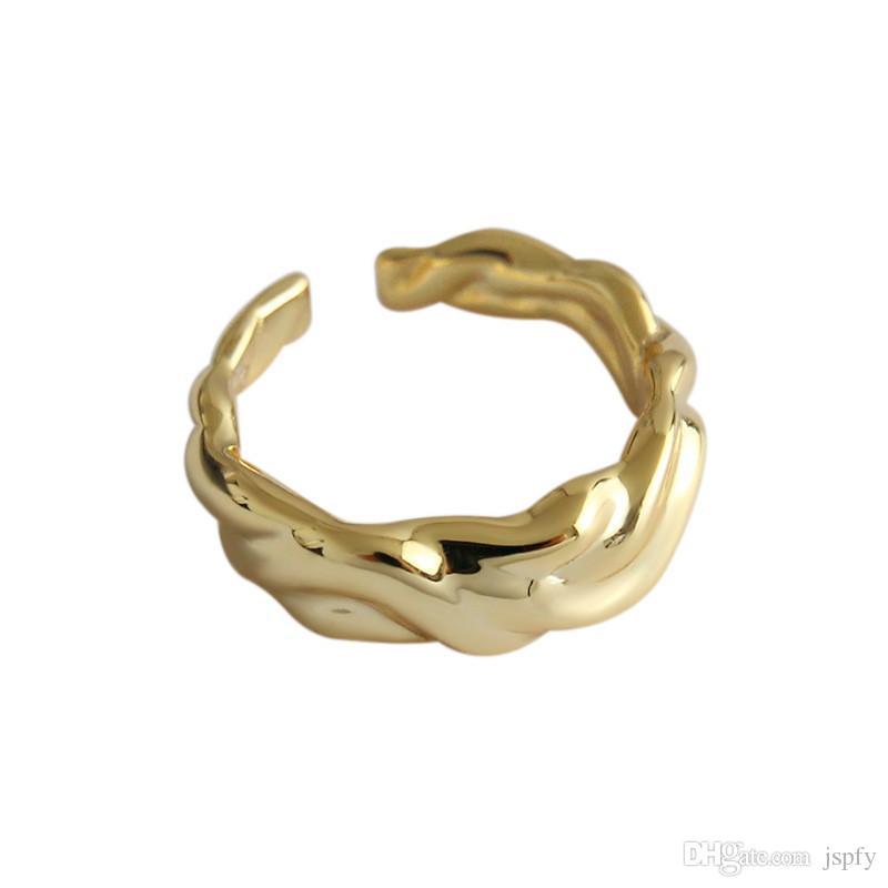 Аутентичные стерлинговое серебро 925 Нерегулярных Вогнутые Выпуклые Открытые кольца для женщин Weavy Геометрического Заявления Регулируемого кольцо