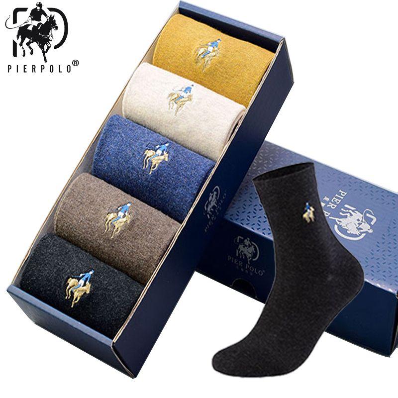 5Pairs / lot PIERPOLO Marka Erkekler Çorap Meias Erkek Kış Hediyeler 2019 CJ191130 için Çorap Pamuk Nakış Yüksek Kalite Erkek Elbise Çorap Isınma