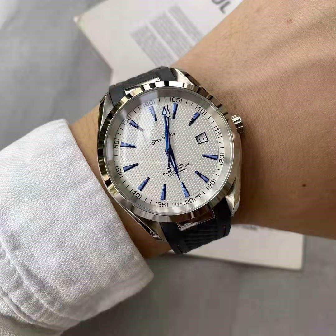 роскошные дизайнерские мужские часы 40 мм полноавтоматический механический механизм минеральное износостойкое зеркало оригинальный резиновый ремешок изысканный стальной корпус