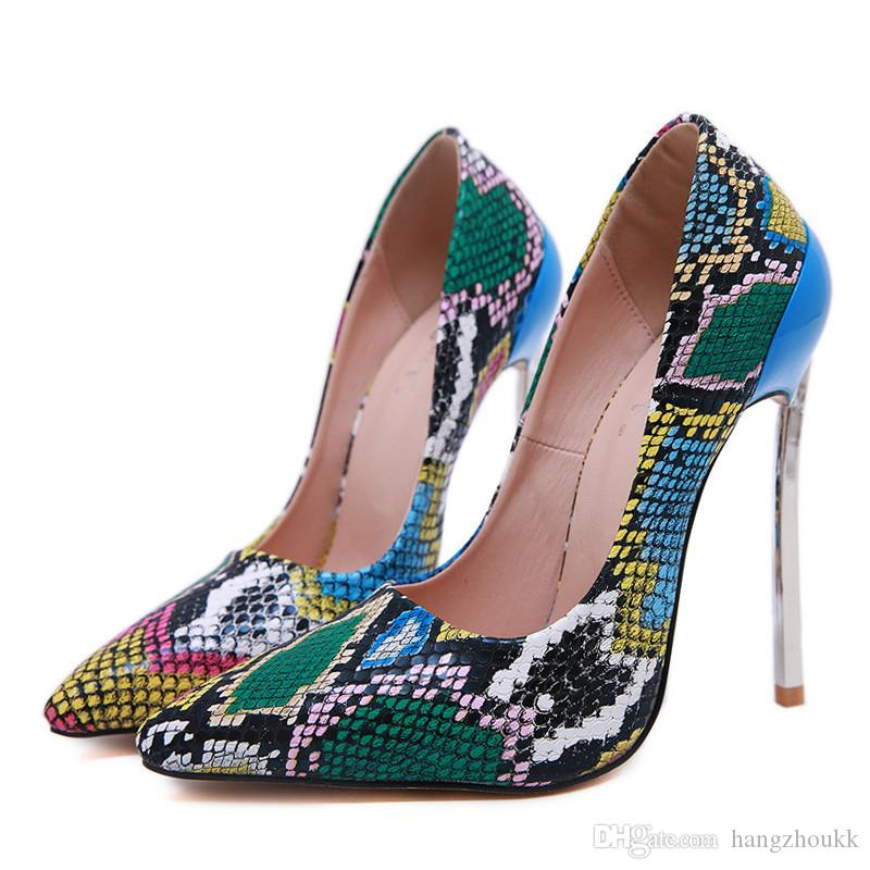высокие каблуки женщины насосы Сексуальная змея узор мелкая партия клуб обувь большой размер 35-42 металл тонкий каблук офис Леди обувь