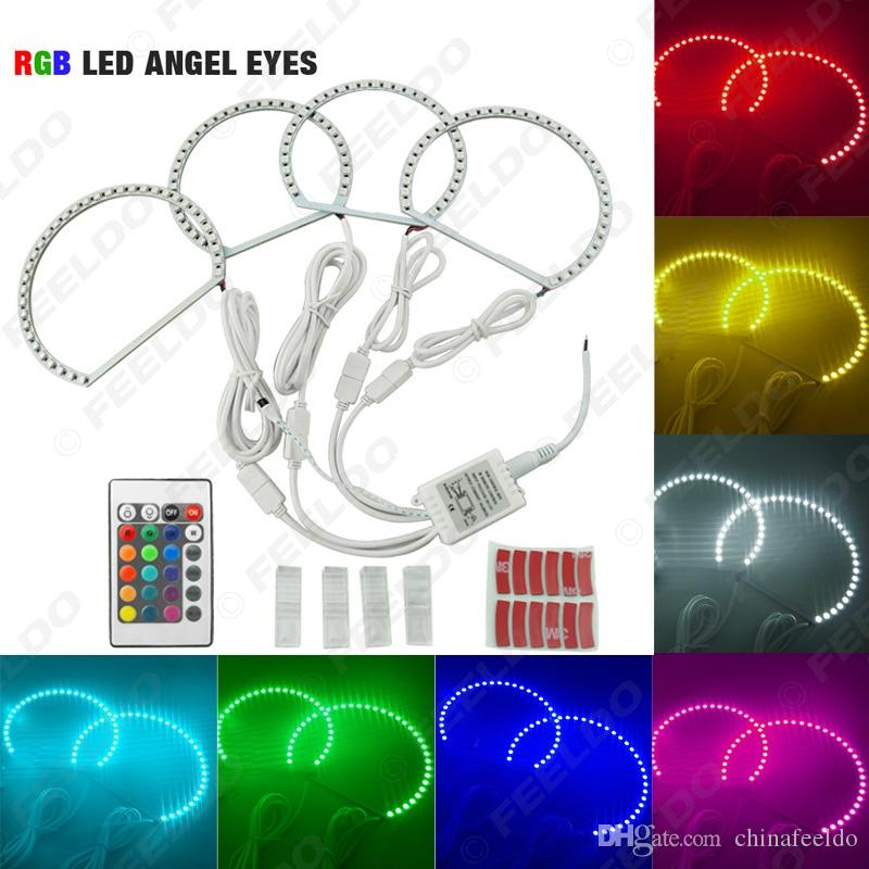 4pcs Car 5050SMD LED RGB Flash Angel Eyes Halo Ring Light for BMW E46 3 Series Non Projector #4254