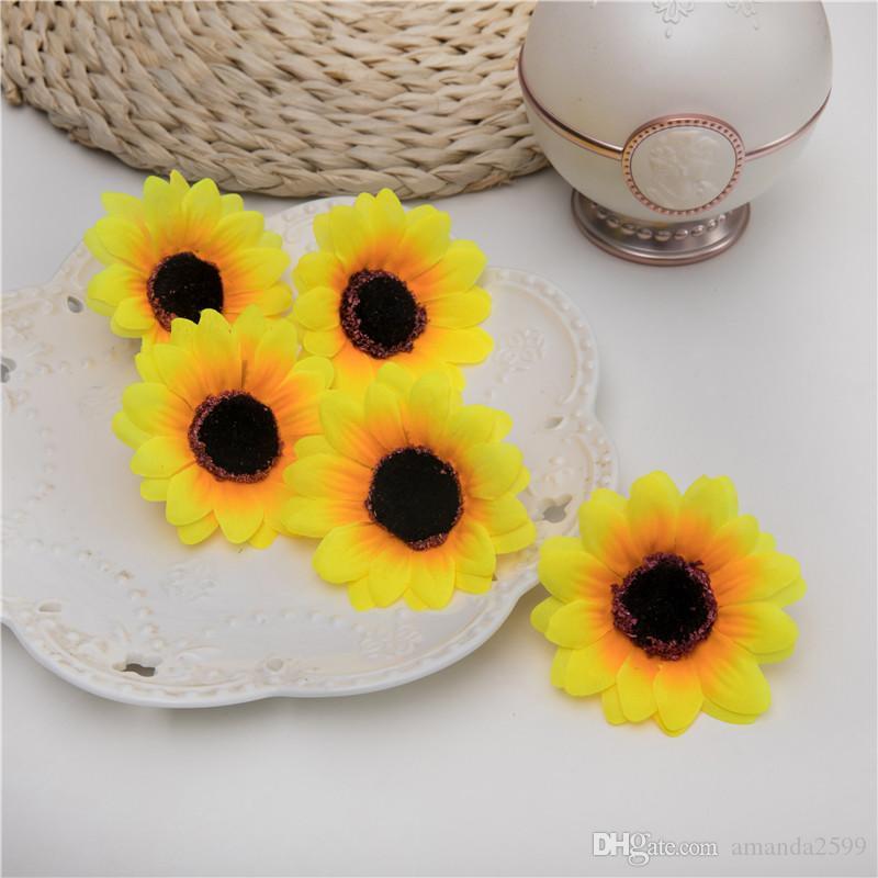 100 PCS 6.5 CM 7 cores cabeça de girassol artificial diy flor de casamento headware acessórios decoração do partido