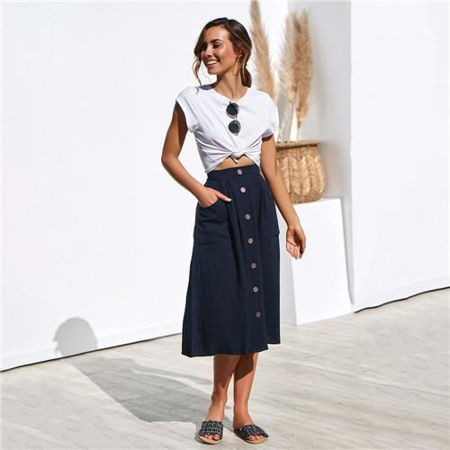 Orta Buzağı Casual Giyim Kadın Yaz Tasarımcı Procket Etekler Düğme Moda Kadın Gevşek Elbiseler Katı Renk