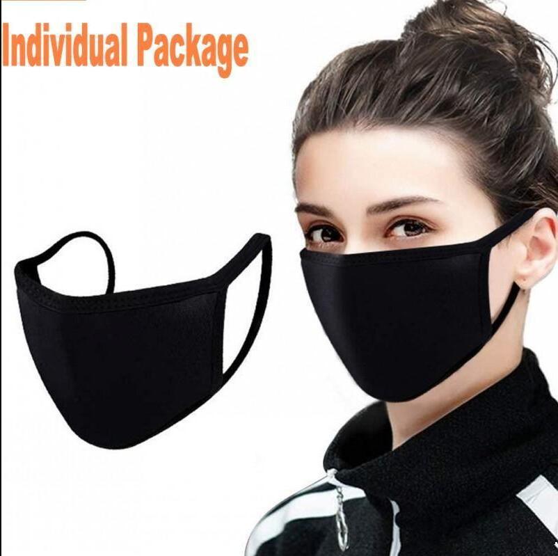 Designer Fashion Cotton Face Mask Black Dustproof Mouth Cover PM2.5 Face Masks Washable Reusable Masks Anti Dust Breathable mascherineFY9043