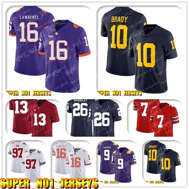5-24 NCAA 16 Trevor Lawrence 10 Tom Brady Michigan Wolverines Koleji Futbol Forması Jackson Marshawn Lynch Henry Ruggs Derek Carr
