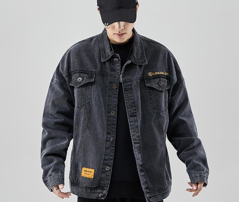 Mens Designer Jacken Denim Jacken Brief Stickerei Herbst Street Style Lose Langarm Revers Neck Mäntel Mens Fashion Streetwear