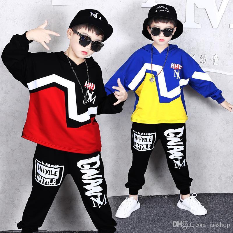 Ropa infantil Street Dance traje ropa de otoño e invierno nuevos muchachos del suéter flojo ocasional de los pantalones de la tendencia de la chaqueta de Hip Hop de los pantalones de dos p