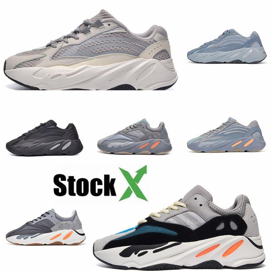 Orijinal 700 V2 Statik Kil Spor Ayakkabıları Ucuz Kanye West 700S Dalga Runner Leylak Erkekler Kadınlar Yansıtıcı Atalet Gerçek Formu Sneakers # DSK734