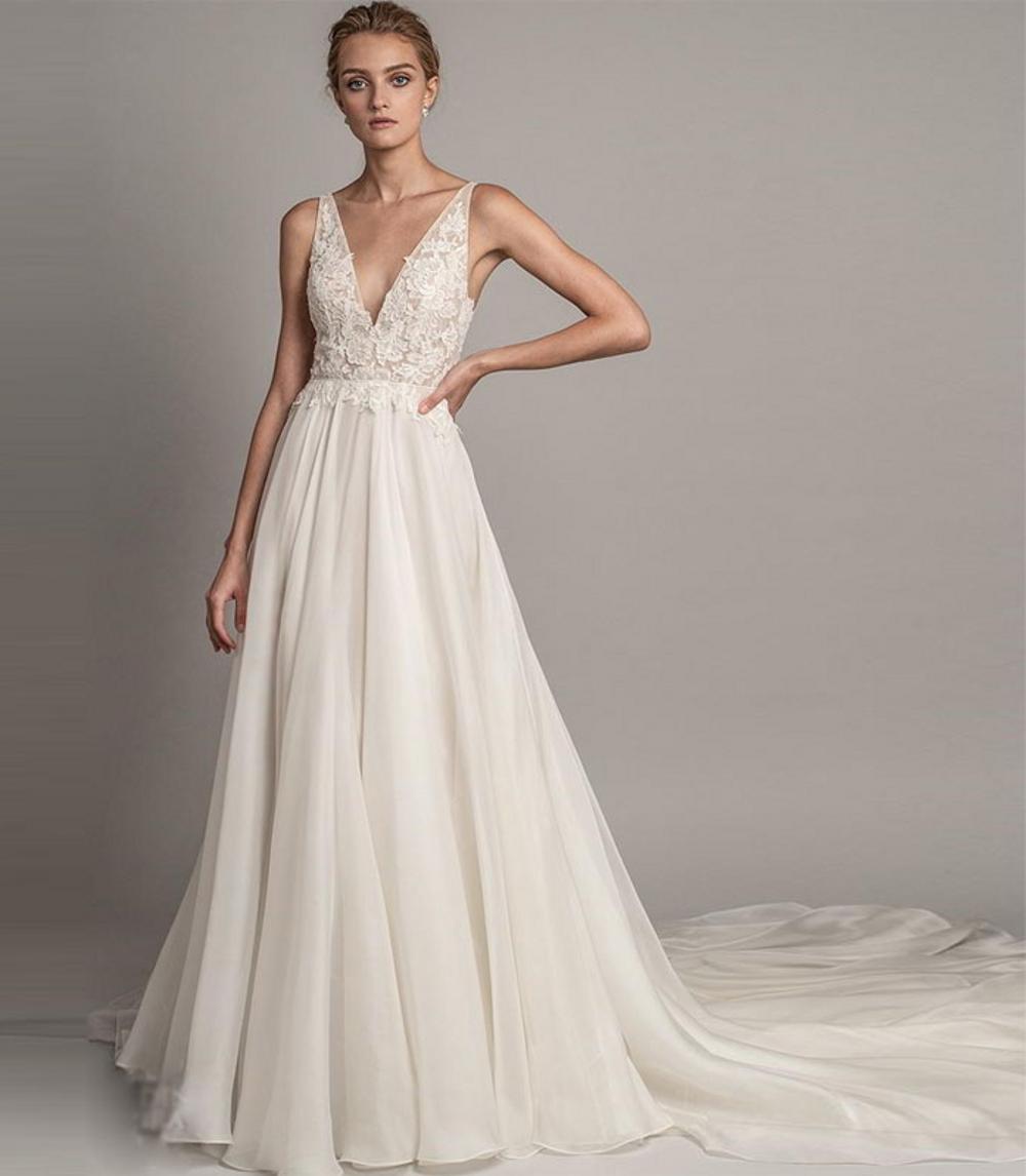 Personalizado Plus size vestidos de renda v garfo chiffon uma linha boho praia vestidos de casamento lace applique vestidos de noiva brancos vestido de noiva branca
