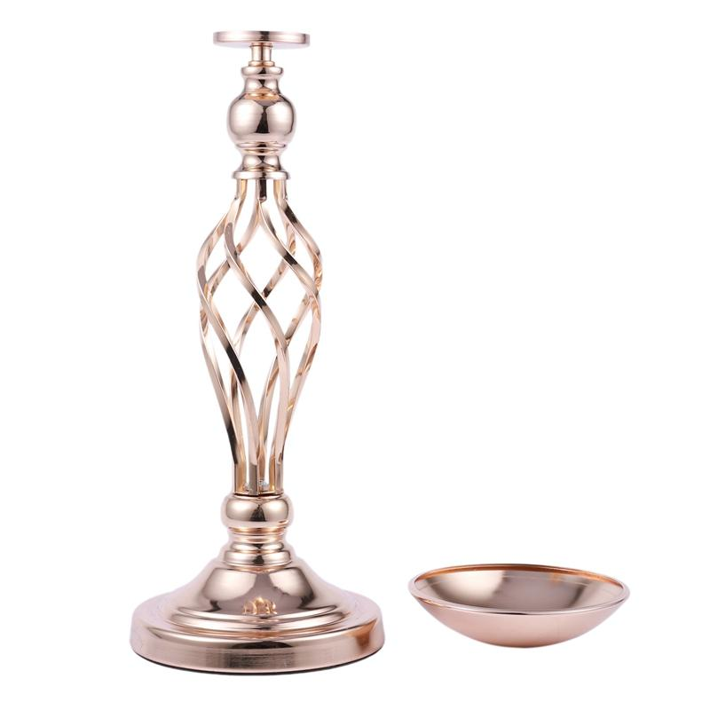 1PCS Gold Flower Vases Candle Holders Rack Stands Wedding Decoration Road Lead Table Centerpiece Pillar Party Event Candlestick