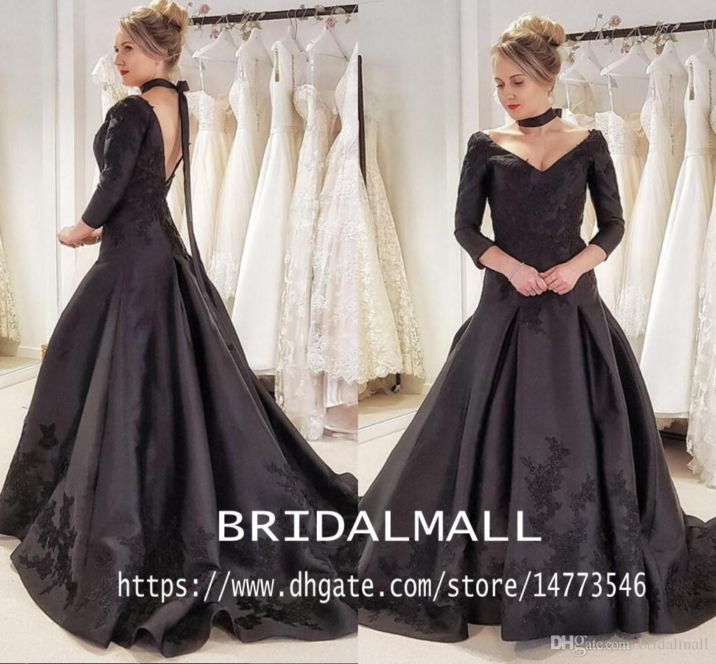 3/4 Sleeves Gothic Black Wedding Dresses Sexy V Neck Appliqued Satin Bridal Dress Plus Size Backless Wedding Gowns Custom Vestidos de novia