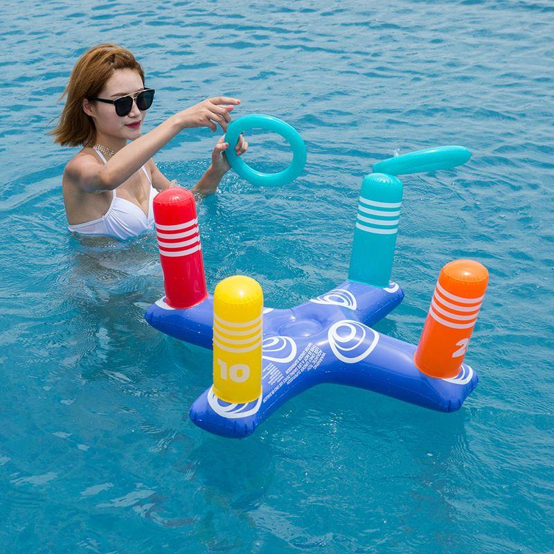반지 물 재미 장난감 크로스 수레 수영장 부동 장난감을 던지는 여름 해변 풍선