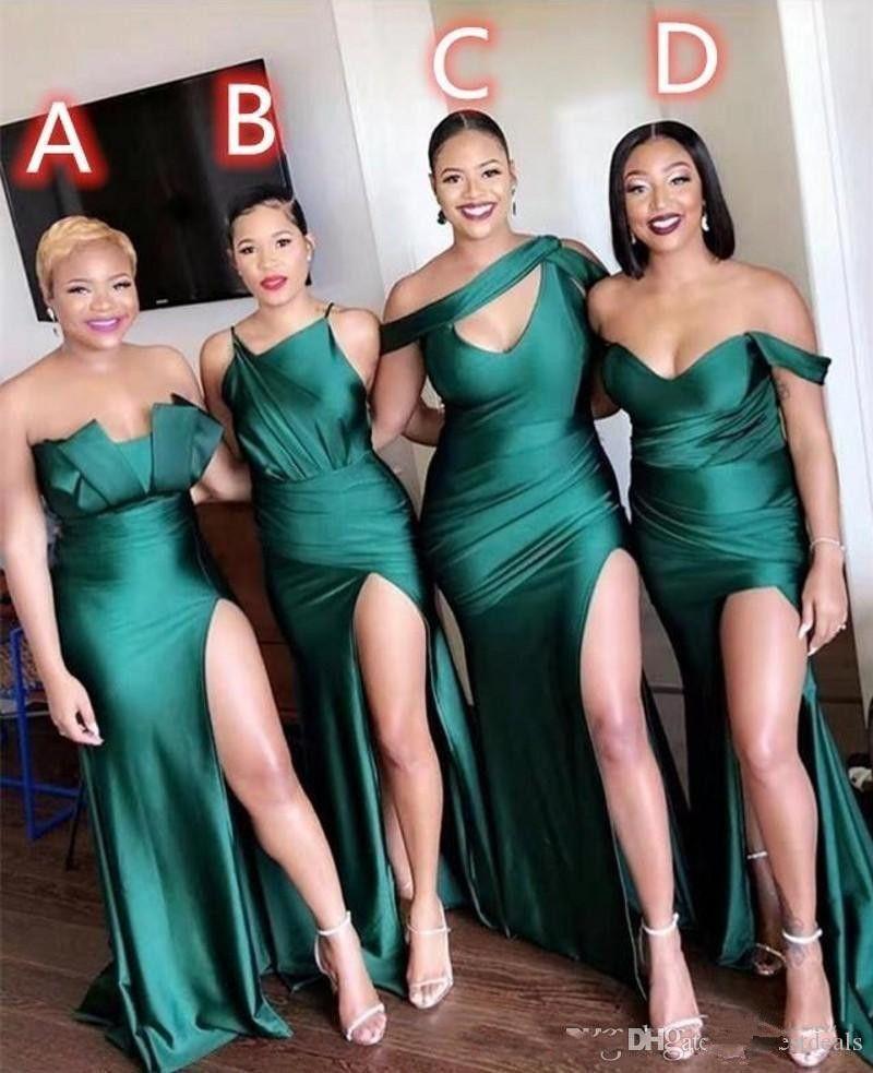 Afrika seksi nedime elbiseler farklı stilleri aynı renk 2020 yeni parti gelinlik modelleri bölünmüş ön düğün konuk elbise abiti da cerimonia