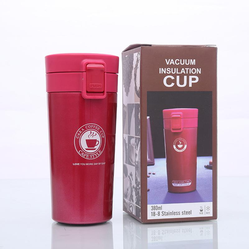 Edelstahl-Kaffeetasse Tragbare Insulated Thermo Wasser Tee Flasche Isolierung Vakuumflasche Cup Moderne Outdoor Car Kreative 380ml