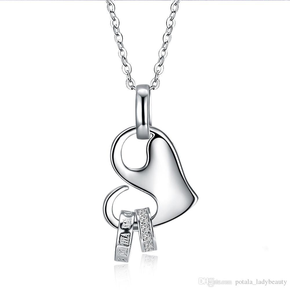 Colar Para Sempre Amor S925 Sterling Silver Coração Pendurado Dois Pequenos Anéis Pingente de Colar Acessórios Presente Na Moda Presente de Noivado POTALA075