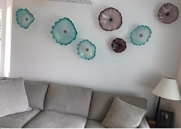 Отель Настенное Освещение 100% Ручной Работы Муранского Стекла Настенные Светильники Итальянский Дизайн Цветок Чихули Стиль Стеклянные Пластины 2020