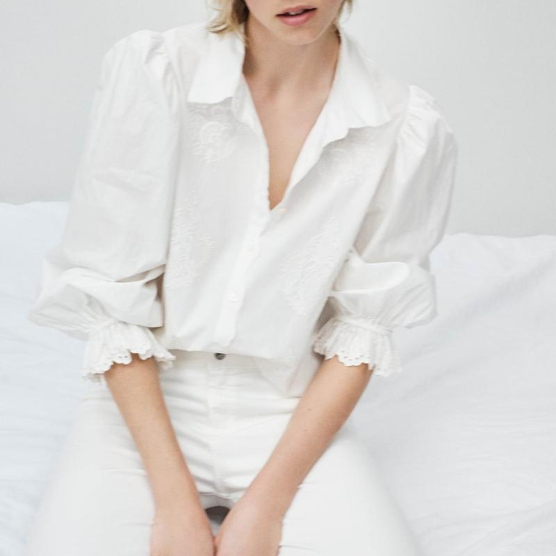 Femmes Blanc Chemisier Printemps 2020 Nouveau Mode manches longues Tops moderne Lady broderie Chemises