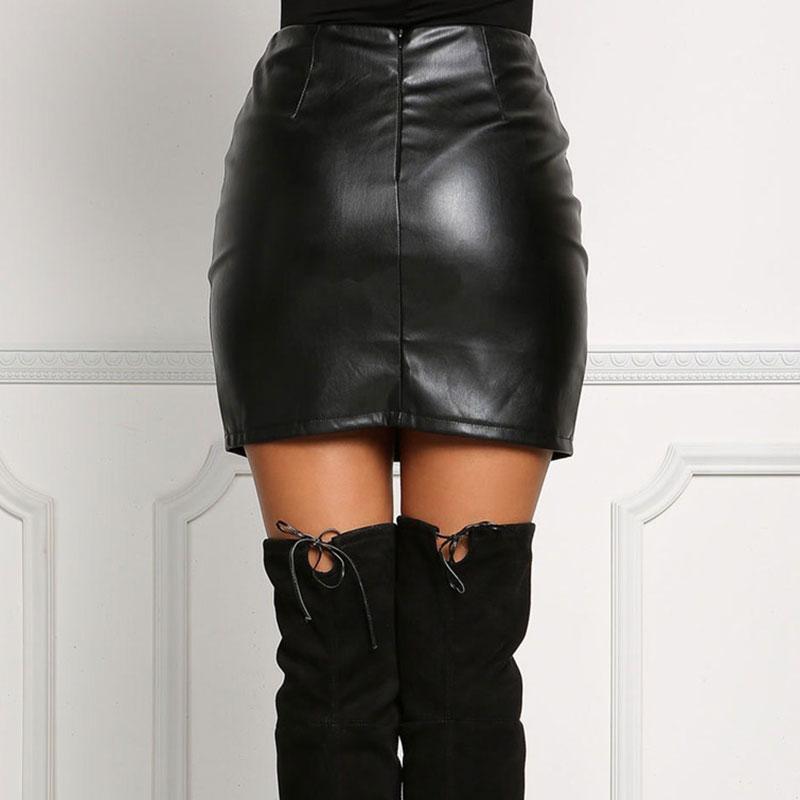 Taille haute en cuir PU Jupes femmes Mini-jupe Automne Streetwear hiver Jupes courtes sexy Bandage sous la fourche ouverte