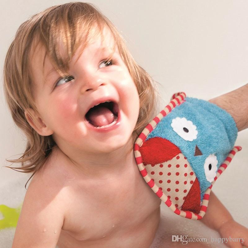 Atacado Moda Infantil Dos Desenhos Animados de Algodão Toalha De Banho Da Criança Infantil Projeto Animal Luvas Macias Do Escova Do Banho Do Bebê Esfregar Chuveiro Esponja 20 pçs / lote