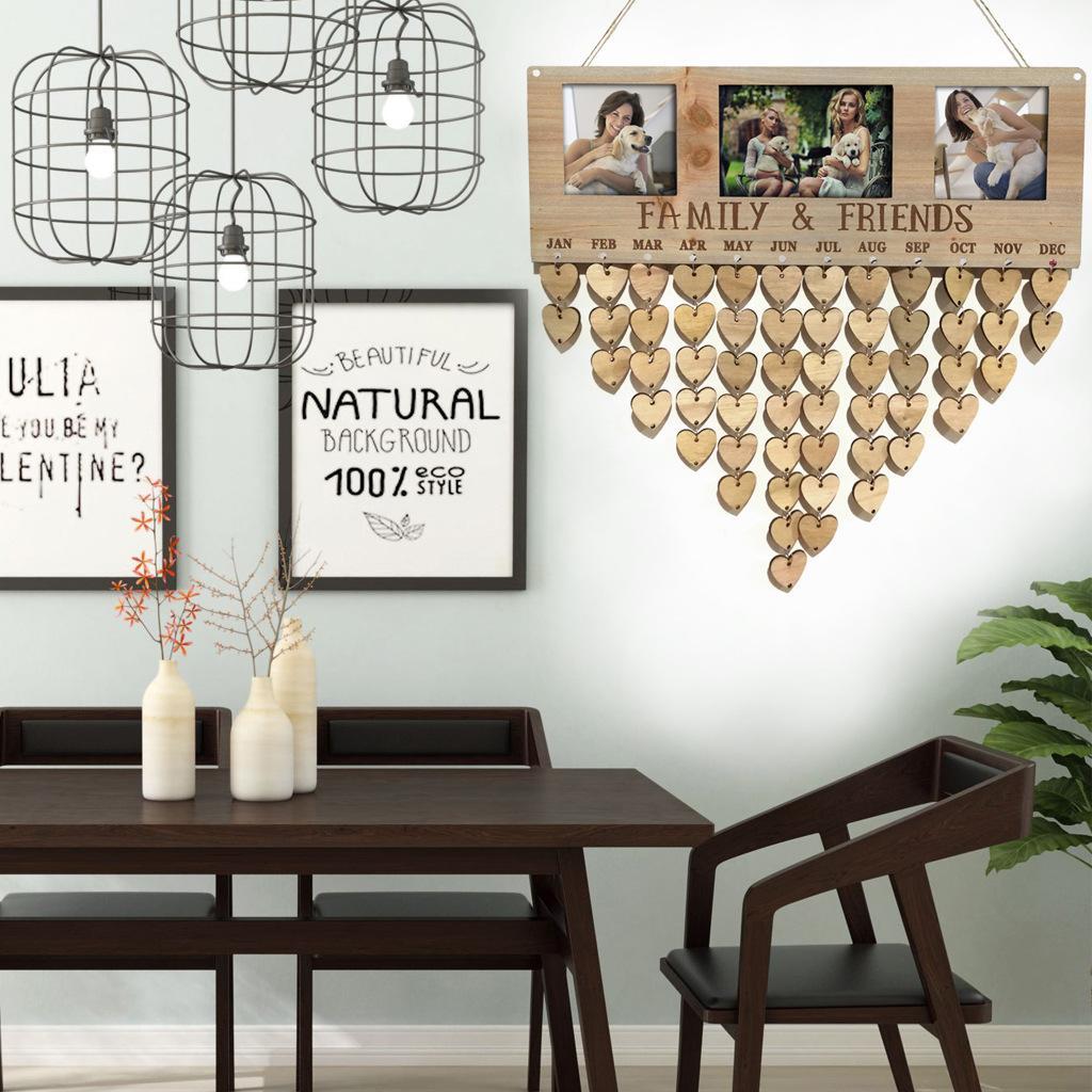 Holz Birthday Reminder Brett Plaque DIY Kalender-Foto-Rahmen-Mitteilung-Zeichen Hängedeko Zubehör Termine Planer Spezialaufhängevorrichtung