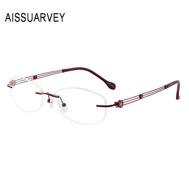 Metallo senza orlo degli occhiali Montatura per gli occhiali Optical donne della struttura Occhiali con lenti graduate Hollow strass elegante luce Flexiable