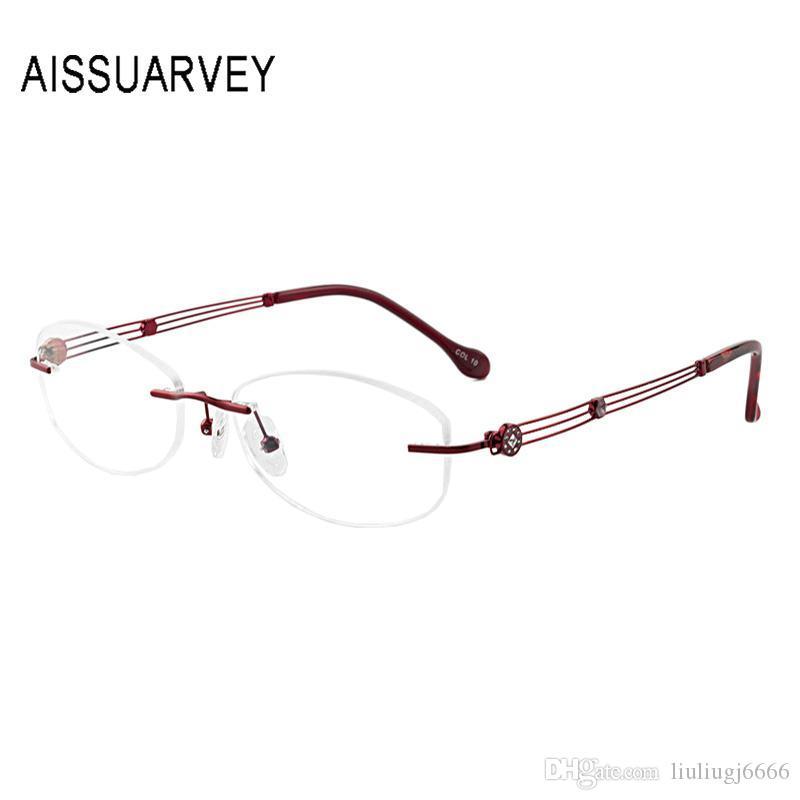 Metal Rimless Óculos Frames por Mulheres Optical óculos de armação Prescrição Eyewear oco Rhinestone elegante Flexiable Luz