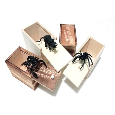 Sorpresa Spider Scatola di legno divertente di burla di scherzo animali Giocattoli Terrore Tricky Toy Fit decorazioni domestiche Nuovo arrivo EEA1028