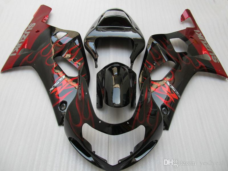 SUZUKI GSXR600 용 인젝션 페어링 바디 키트 750 2001 2002 2003 GSXR 600 GSXR750 K1 01 02 03 적색 불꽃 페어링 차체 및 선물