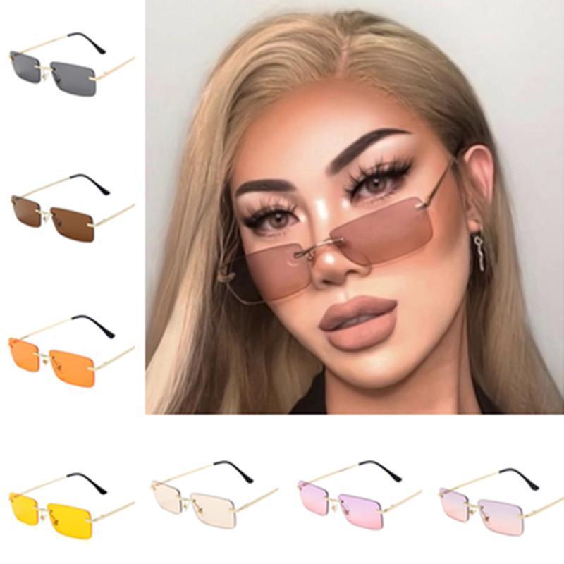 Forme a mujeres sin montura gafas de sol del color del gradiente Gafas de sol Gafas de anti-UV de las lentes Gafas Rectangular los vidrios de Sun Adumbral Gafas A ++