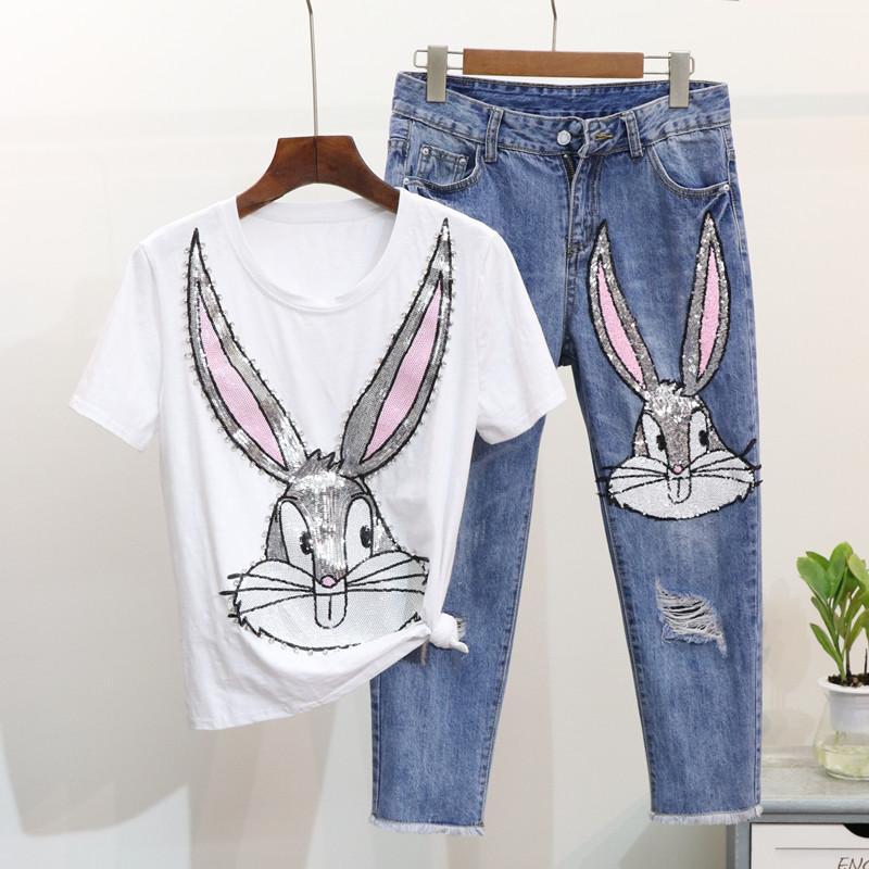 봄 여름 패션 여성 다이아몬드 스팽글 세트 만화 짧은 소매 티셔츠 + 구멍 데님 바지 2Pcs 여성 청바지 정장