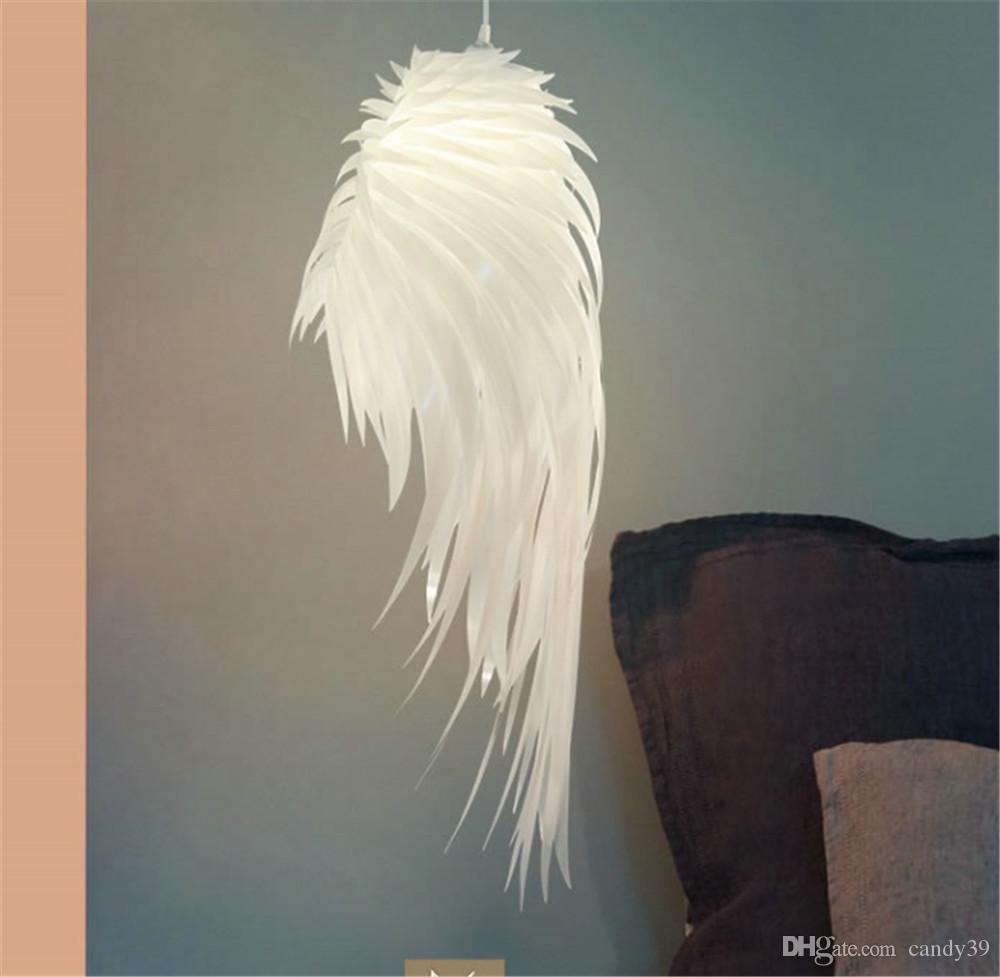 현대적 흰색 깃털 날개 천장 조명 서스펜션 패션 PVC 전등 룸 이닝 룸의 침실 PA0318을 생활