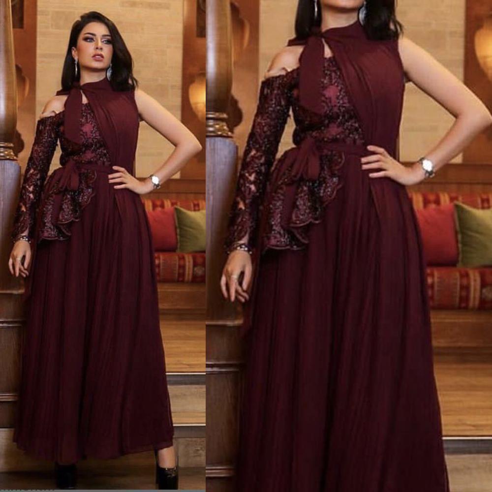 Nuovo collo alto di arrivo lucido Sexy scollo a V dei vestiti da sera arabo paillettes a maniche lunghe Piano Lunghezza del partito del vestito da promenade Robe De SOIRE