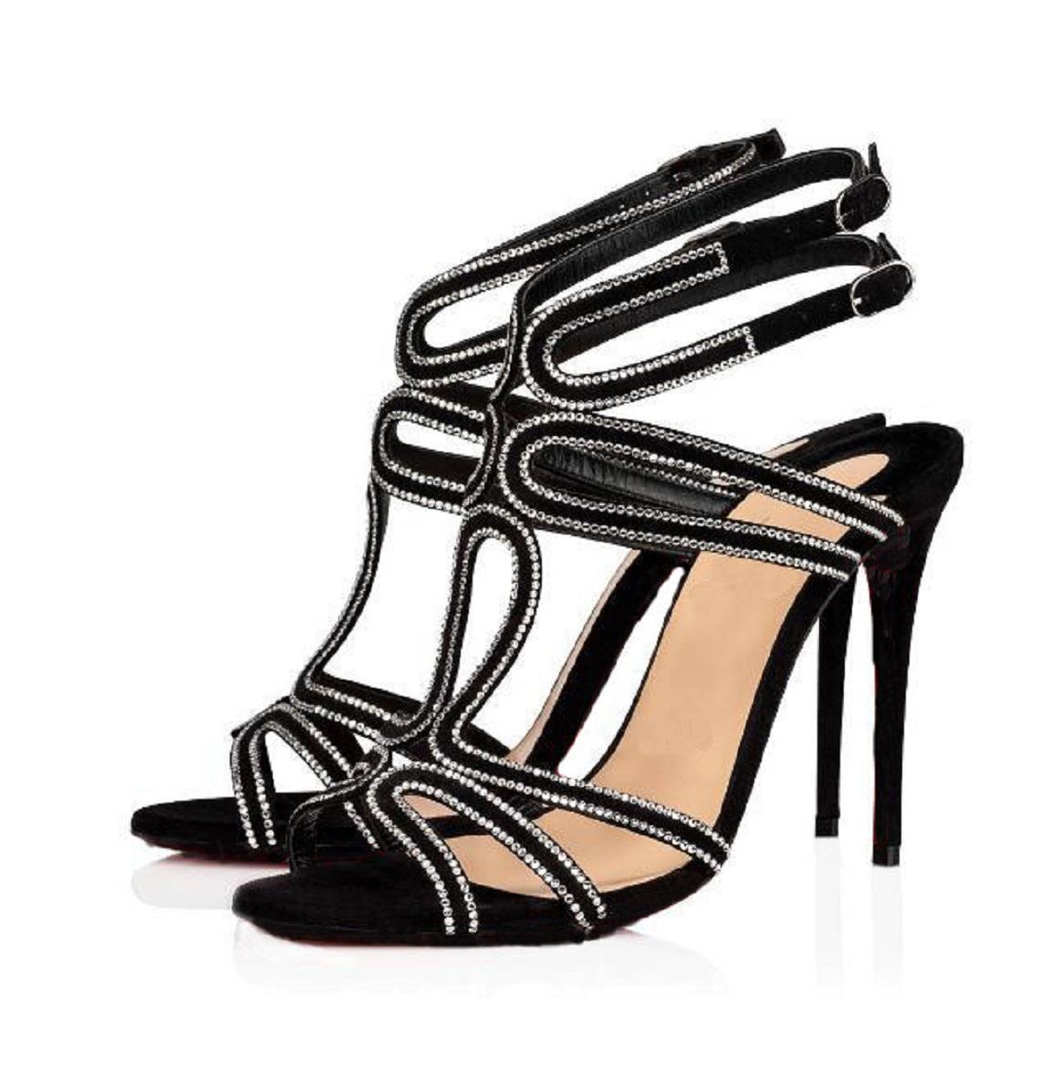 Nizza Qualität Frauen rote Unterseite Sandalen Abendschuhe, luxuriöse High Heels Renee Strass Rinestone Pumpen Sexy Frauen Sandale Partei Brautkleid