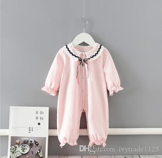 INS الطفل بنات ملابس رومبير 100٪ القطن القلم بان الياقة القوس قليلا الوردي رومبير ربيع خريف ثوب فضفاض بوتيك 0-2T